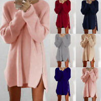 UK Women Casual Long Sleeve Knitted Pullover Loose Sweater Jumper Tops Knitwear