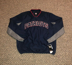 New England Patriots NFL Pullover Windbreaker Fleece Jacket Men's M Embroid. NWT