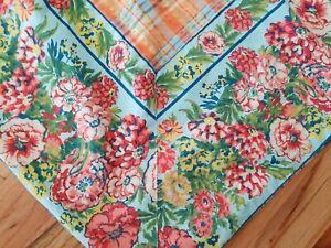 April Cornell Tablecloth Square Orange Blue Green Plaid Floral Paisley 50x50