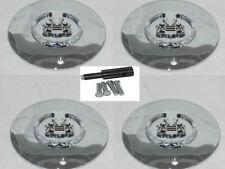 (4) CHROME LOGO VOGUE TYRE CADILLAC WHEEL RIM CENTER CAP SET W/ LOCKS 991-0625