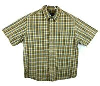 Woolrich Mens Short Sleeve Plaid Button Down Shirt Brown Blue Size XL