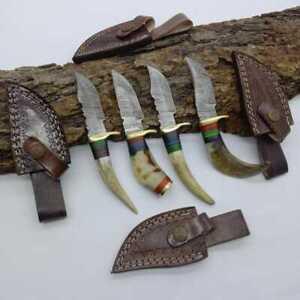 """6""""MH KNIVES RAM & STAG HORN DAMASCUS STEEL LOT OF 4 HUNTING/SKINNER KNIFE LOT-01"""