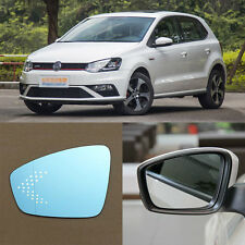 Rearview Mirror Blue Glasses LED Turn Signal with Power Heating For VW Polo