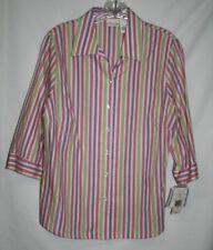 Kim Rogers Petite 12P Blouse Pink Purple Green Shirt Button Up Stripe 3/4 Sleeve