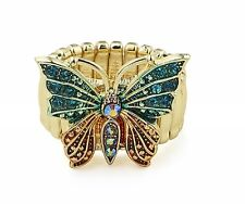 Gold Tone Stretch Elasticated Ring - Multi Coloured & Crystal Butterfly