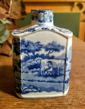 18th century tea caddy Wedgwood shape blue transferware