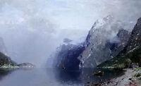 Oil painting Georg Anton Rasmussen - norwegian fjord nice landscape & mountains