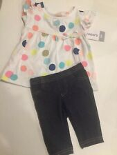 Carters Baby Girl 3 Months 3m 2-Piece Outfit Set Polka Dot Shirt & Leggings Nwt