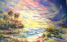 "Original Acrylic Florida Sunset PAINTING on Canvas, Artist Signed 36""x 54"""