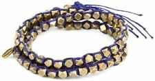 M. Cohen Handmade Designs Brass Beads on Blue Colored Waxed Corded Wrap Bracelet