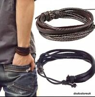 REAL LEATHER BRACELET FOR MEN / WOMEN ADJUSTABLE