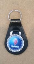 Saab leather backed keyrings