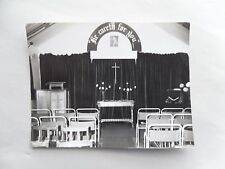 """1950s B/W Photograph. Interior of Church. """"He Careth for You"""" Christian Banner"""