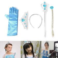 4pcs Princess Crown Tiara Girls Crown Wig Magic Wand Glove Kids Party Cosplay
