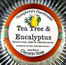 TEA TREE & EUCALYPTUS Soap Unisex Men's Shave Shampoo Beard Wash Round Acne Bar