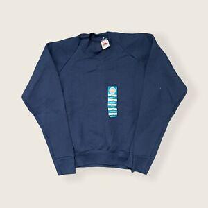 Vintage Fruit of the Loom Casual Wear Blank Raglan Sweatshirt USA Navy M (8-10)