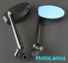 "Billet CNC Alloy Mirrors 4"" Oval Black Yamaha SR500 XS650 CB750 Cafe Racer"