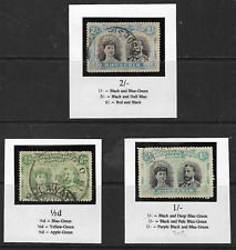 Rhodesia BSAC 1910 Revenue Double Heads x 3 ½d, 1/- & 2/- Used