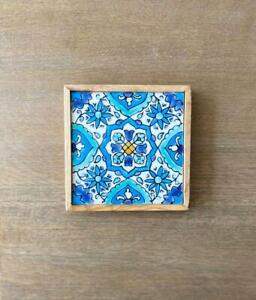 Olive Wood Ceramic Coasters, Hand-painted Ceramic Tile (4 inch/ 4 inch)