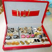 60 Piece Lot of Vintage Cuff Links Tie Clips Tie Tacks & 2 Red SWANK Jewelry Box