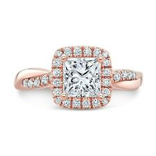 2.50tcw Natural Princess Cut Halo Twisted Pave Diamond Engagement Ring - GIA