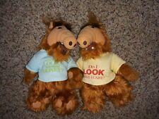 2 Vintage 1988 Plush Doll Stuffed Alien Tshirt Look like I care?  Look who money
