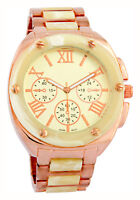 Vernier Women's Faux Chronograph Bone Rose Gold-Tone Bracelet Watch