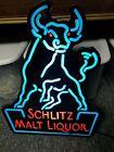 """VINTAGE 24"""" SCHLITZ MALT LIQUOR RAGING BULL PLASTIC LIGHTUP BEER SIGN Neon Look"""