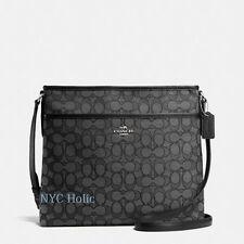 New Coach F58285 Signature File Bag Crossbody Handbag Black Smoke $195 NWT
