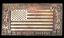 VINTAGE THE SILVER MINT 20 GRAMS .999 FINE SILVER BAR AMERICAN FLAG DOLLAR BILL