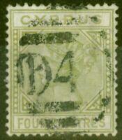 Cyprus 1881 4pi Pâle Vert Olive SG14 Très Bien Utilisé