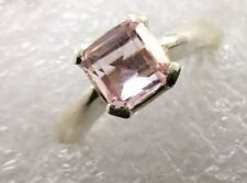 Emerald Cut Natural Imperial Pink Topaz Ring Sterling Silver 925 Rings Shia Ring