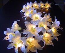 Creamy White Lily Flower Fairy Light Lite String 3 Meters Long 220V Mains Plug