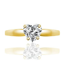 Excellent Heart Cut Diamonds 14K Gold Over Fancy Solitaire Ring Mothers Day Gift