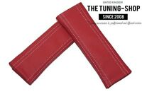 2x Seat Belt Covers Pads Red Genuine Leather White Stitching