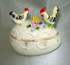Vintage White Porcelain Egg Trinket Box w/ Painted Figural Chickens, Flowers