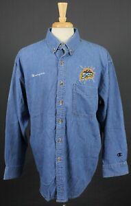 Detroit Shock WNBA Embroidered Logo Champion Denim Button Shirt Large/XL