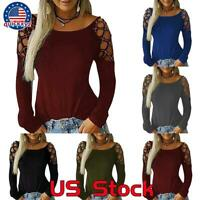 Summer Women Hollow Out Long Sleeve Tunic T-Shirt Ladies Casual Blouse Tops Tee