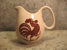 vintage Rooster chicken creamer pitcher ceramic pottery brown white
