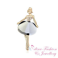 18K Gold Plated Created Glass Crystal Elegant Princess Ballet Girl Brooch