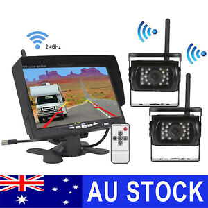 "2x Wireless Reversing Camera for Bus Truck Caravan Car 7"" Monitor Screen 12-24V"
