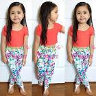 2015 éTé Enfants bébé T-shirt Fille+Fleur Pantalon 2pcs Ensemble Vêtements 2-8Y