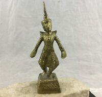 Vintage Solid Brass Buddhist Hindu Deity Thai Temple God Dancing Pose