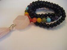 Spiritual Unisex 108 Beaded Chakra Mala Necklace/Bracelet Yoga Rose Quartz Bead
