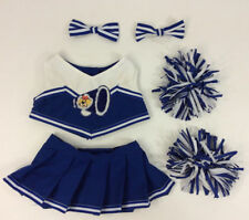 Build A Bear Cheerleader Costume Outfit Blue WHite 6 Pc Pom Poms