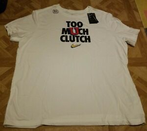 Nike Too Much Clutch T-Shirt Basketball Dri-Fit Men's XXL White Brand New