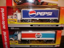 AUTO WORLD ~ 2 Peterbuilt Pepsi Racing Rig with Trailer ~Also Fits AFX, AW, JL
