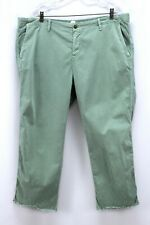 womens green GAP girlfriend chino ankle pants frayed cuff recent stretch 1X 18