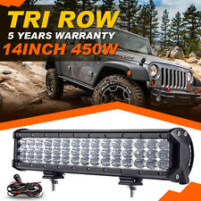 Tri-Row 14Inch 450W Led Light Bar Fit for Polaris RZR XP 900 1000 Ranger 570 UTV
