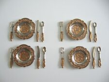 dollhouse doll house miniature DISHES PEWTER DISH SET WITH UTENSILS GOLD ACCENT